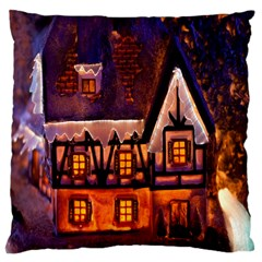 House In Winter Decoration Large Cushion Case (two Sides)