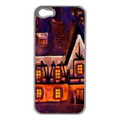 House In Winter Decoration Apple Iphone 5 Case (silver)