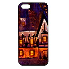 House In Winter Decoration Apple Iphone 5 Seamless Case (black)