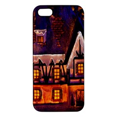 House In Winter Decoration Apple iPhone 5 Premium Hardshell Case