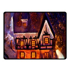 House In Winter Decoration Double Sided Fleece Blanket (Small)