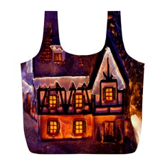 House In Winter Decoration Full Print Recycle Bags (l)