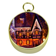 House In Winter Decoration Gold Compasses