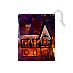 House In Winter Decoration Drawstring Pouches (Medium)