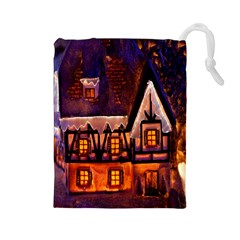 House In Winter Decoration Drawstring Pouches (large)