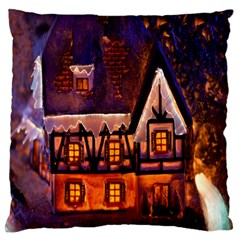 House In Winter Decoration Large Flano Cushion Case (two Sides)
