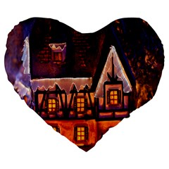 House In Winter Decoration Large 19  Premium Flano Heart Shape Cushions