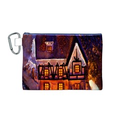 House In Winter Decoration Canvas Cosmetic Bag (m)
