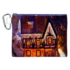 House In Winter Decoration Canvas Cosmetic Bag (XXL)