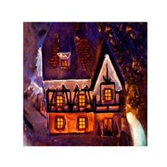House In Winter Decoration Small Satin Scarf (Square)