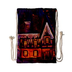House In Winter Decoration Drawstring Bag (small)