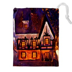House In Winter Decoration Drawstring Pouches (xxl)