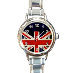 Flag Of Britain Grunge Union Jack Flag Background Round Italian Charm Watch