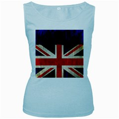 Flag Of Britain Grunge Union Jack Flag Background Women s Baby Blue Tank Top