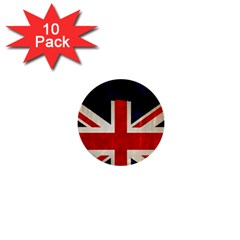 Flag Of Britain Grunge Union Jack Flag Background 1  Mini Buttons (10 Pack)
