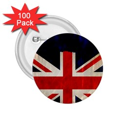 Flag Of Britain Grunge Union Jack Flag Background 2.25  Buttons (100 pack)