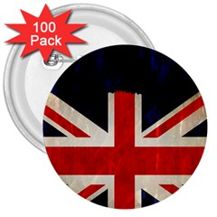 Flag Of Britain Grunge Union Jack Flag Background 3  Buttons (100 pack)