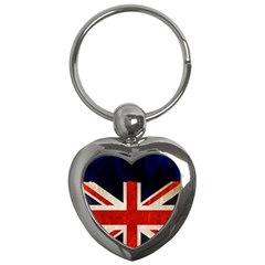 Flag Of Britain Grunge Union Jack Flag Background Key Chains (heart)
