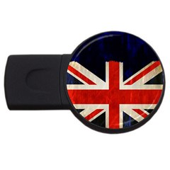 Flag Of Britain Grunge Union Jack Flag Background USB Flash Drive Round (1 GB)