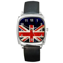 Flag Of Britain Grunge Union Jack Flag Background Square Metal Watch