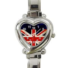 Flag Of Britain Grunge Union Jack Flag Background Heart Italian Charm Watch