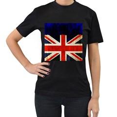 Flag Of Britain Grunge Union Jack Flag Background Women s T-Shirt (Black) (Two Sided)