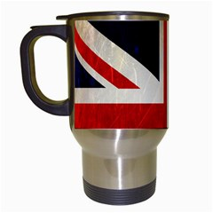 Flag Of Britain Grunge Union Jack Flag Background Travel Mugs (white)