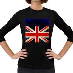 Flag Of Britain Grunge Union Jack Flag Background Women s Long Sleeve Dark T Shirts