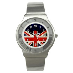 Flag Of Britain Grunge Union Jack Flag Background Stainless Steel Watch