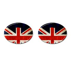 Flag Of Britain Grunge Union Jack Flag Background Cufflinks (Oval)