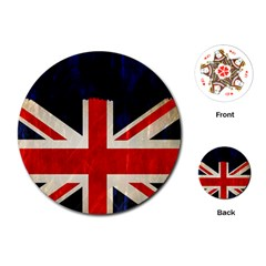 Flag Of Britain Grunge Union Jack Flag Background Playing Cards (round)
