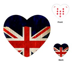 Flag Of Britain Grunge Union Jack Flag Background Playing Cards (Heart)