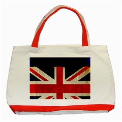 Flag Of Britain Grunge Union Jack Flag Background Classic Tote Bag (red)