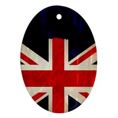 Flag Of Britain Grunge Union Jack Flag Background Oval Ornament (Two Sides)