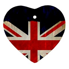 Flag Of Britain Grunge Union Jack Flag Background Heart Ornament (two Sides)