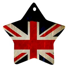 Flag Of Britain Grunge Union Jack Flag Background Star Ornament (Two Sides)