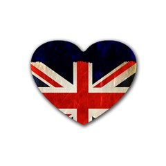 Flag Of Britain Grunge Union Jack Flag Background Rubber Coaster (Heart)