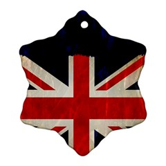 Flag Of Britain Grunge Union Jack Flag Background Snowflake Ornament (two Sides)