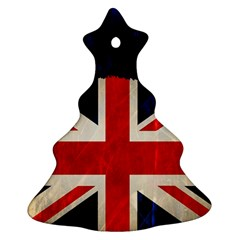 Flag Of Britain Grunge Union Jack Flag Background Christmas Tree Ornament (two Sides)