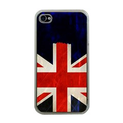Flag Of Britain Grunge Union Jack Flag Background Apple Iphone 4 Case (clear)