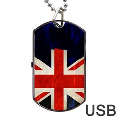 Flag Of Britain Grunge Union Jack Flag Background Dog Tag USB Flash (One Side)