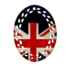 Flag Of Britain Grunge Union Jack Flag Background Ornament (oval Filigree)