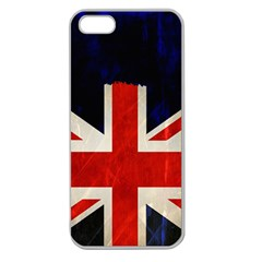 Flag Of Britain Grunge Union Jack Flag Background Apple Seamless Iphone 5 Case (clear)