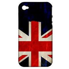 Flag Of Britain Grunge Union Jack Flag Background Apple iPhone 4/4S Hardshell Case (PC+Silicone)