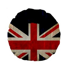 Flag Of Britain Grunge Union Jack Flag Background Standard 15  Premium Round Cushions