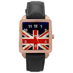 Flag Of Britain Grunge Union Jack Flag Background Rose Gold Leather Watch