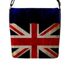 Flag Of Britain Grunge Union Jack Flag Background Flap Messenger Bag (L)