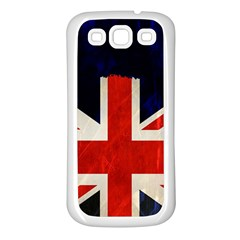 Flag Of Britain Grunge Union Jack Flag Background Samsung Galaxy S3 Back Case (white)
