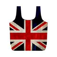 Flag Of Britain Grunge Union Jack Flag Background Full Print Recycle Bags (M)