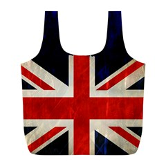 Flag Of Britain Grunge Union Jack Flag Background Full Print Recycle Bags (l)